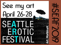 See my art April 26-28 at Seattle Erotic Art Festival #SEAF2019 Woman lies on a field with an umbrella in the background.
