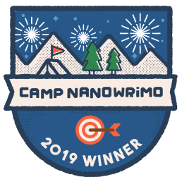 Camp Nanowrimo 2019 Winner badge, featuring cartoon tent and trees.