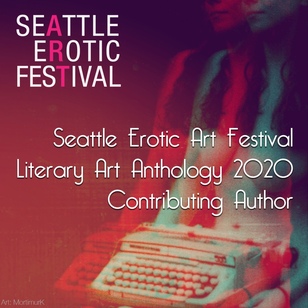 The words Seattle Erotic Art Festival contributing Author over a red and blue toned nude woman with a typewriter on her lap.